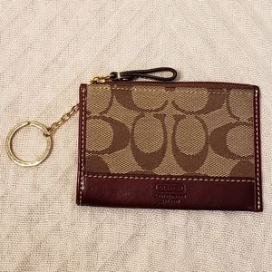 Coach Khaki/Burgundy Mini Skinny Card Case